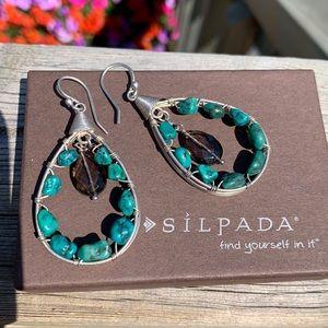 W2215 Silpada turquoise sterling earrings